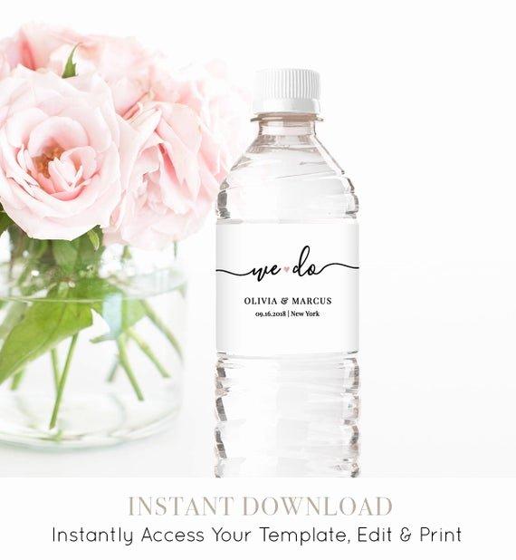 Diy Water Bottle Label Template Lovely Water Bottle Label Template Diy Wedding Label Modern