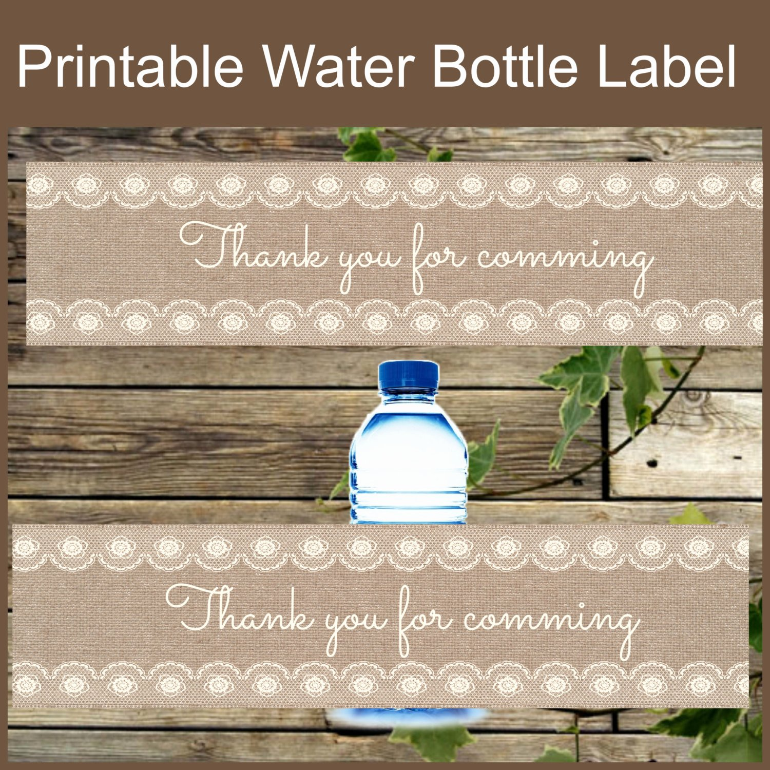 Diy Water Bottle Label Template New Burlap and Lace Water Bottle Label Diy Instant by isidesigns