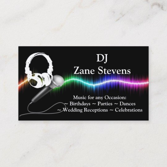 Dj Business Cards Samples Unique Dj Microphone Headphones Business Card Template