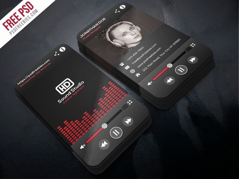 Dj Business Cards Templates Free Inspirational Music Player Style Business Card Template Psd