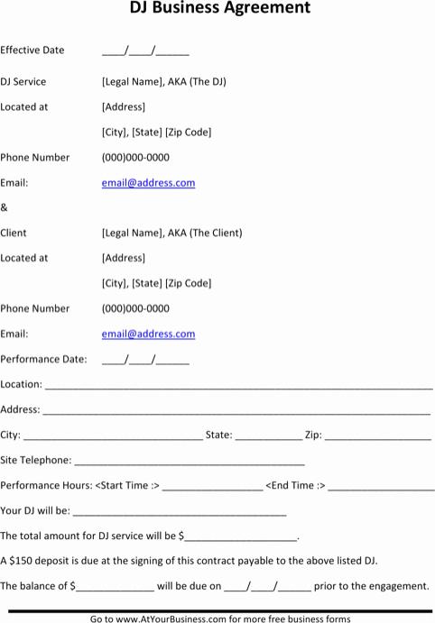 Dj Contract Template Microsoft Word Unique Download Dj Contract Template for Free formtemplate