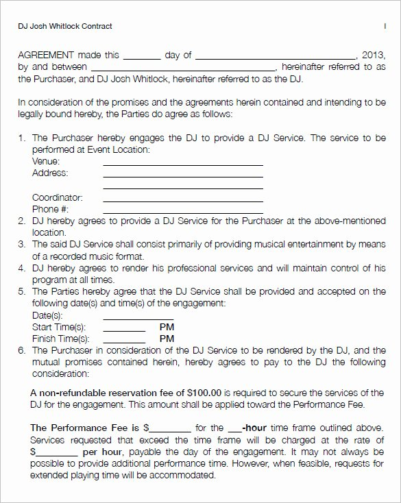 Dj Service Contract Template Awesome 16 Dj Contract Templates Pdf Word Google Docs Apple Pages
