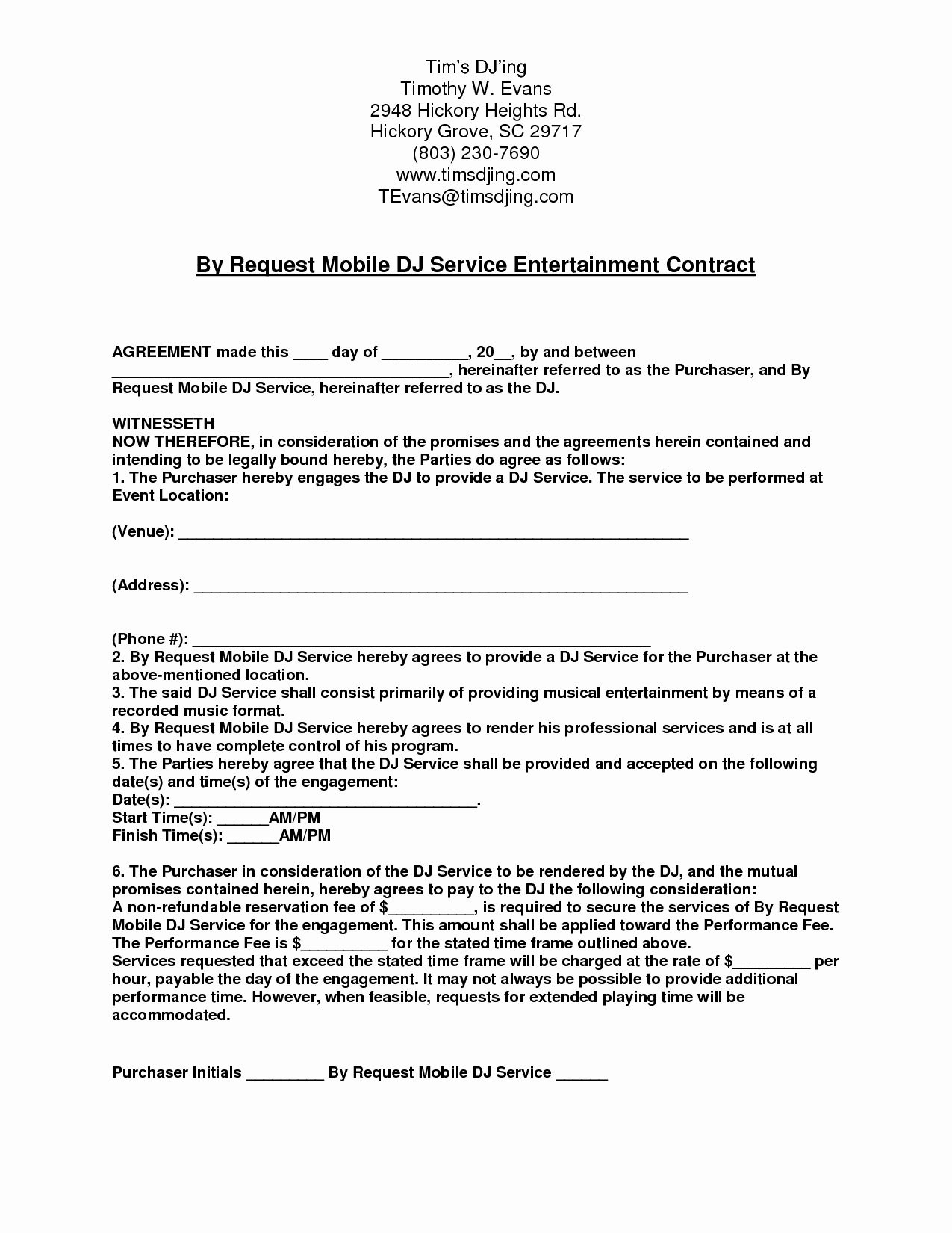 Dj Service Contract Template Awesome Mobile Dj Contract by Request Mobile Dj Service Entertainment Contract Pdf Pdf