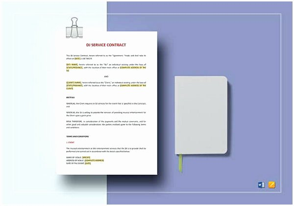 Dj Service Contract Template Best Of Dj Contract