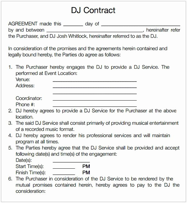 Dj Service Contract Template Lovely Dj Contract