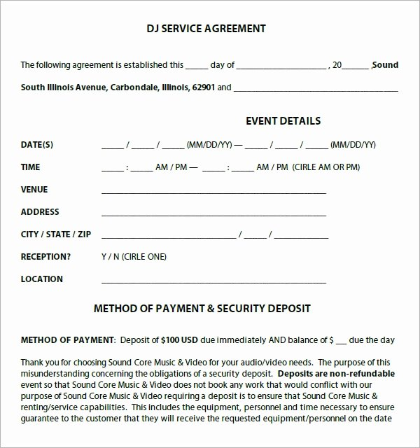 Dj Service Contract Template New Dj Contract 12 Download Documents In Pdf