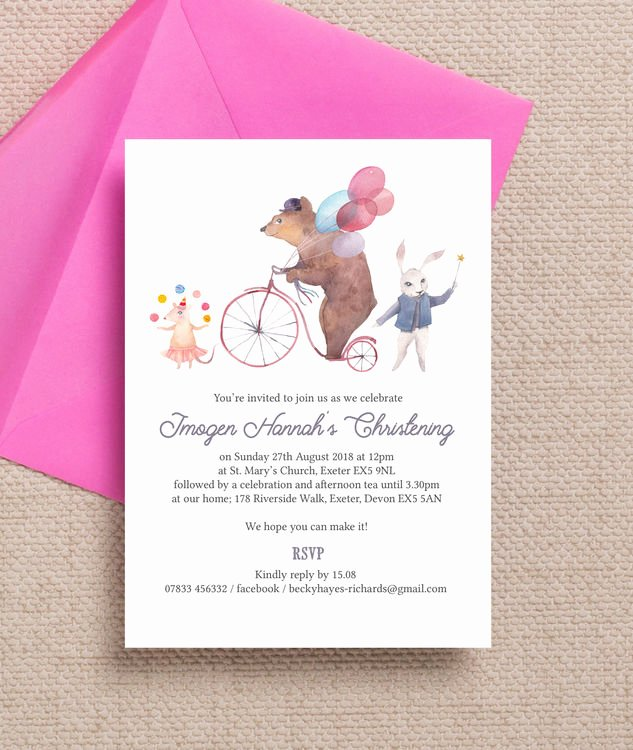 Do It Yourself Baptism Invitation Beautiful Circus Friends Christening Baptism Invitation From £0 80