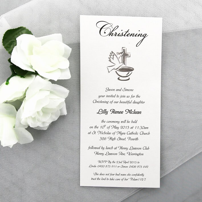Do It Yourself Baptism Invitation Beautiful Elegant Simple Christening Invitation