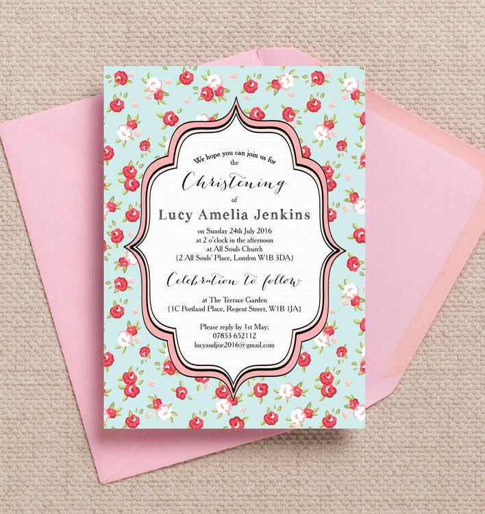Do It Yourself Baptism Invitation Beautiful Vintage Rose Christening Baptism Invitation From £0 80 Each