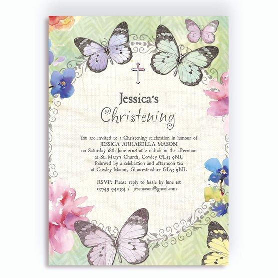Do It Yourself Baptism Invitation Lovely butterfly Garden Christening Baptism Invitation From £0