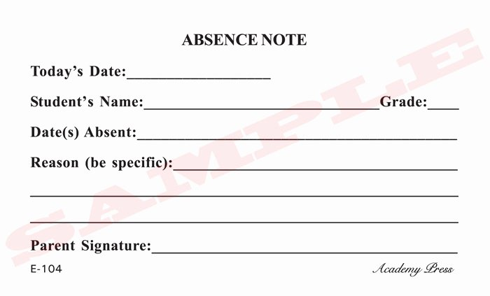 Doctor Note for School Absence Inspirational Academy Press School forms Business forms
