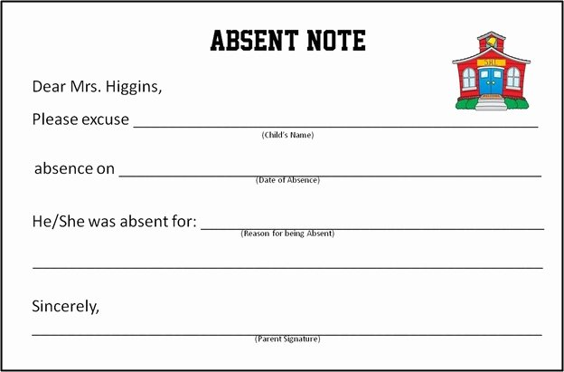 Doctor Note for School Absence New Dr Excuse Template