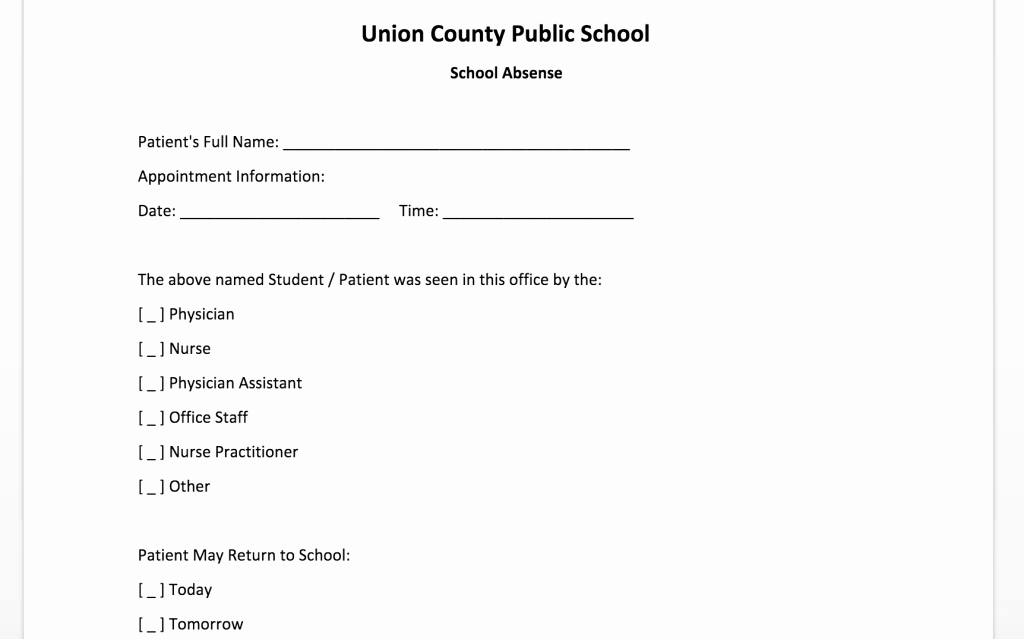 Doctor Note for School Absence Unique Free Doctor Note Template for Word