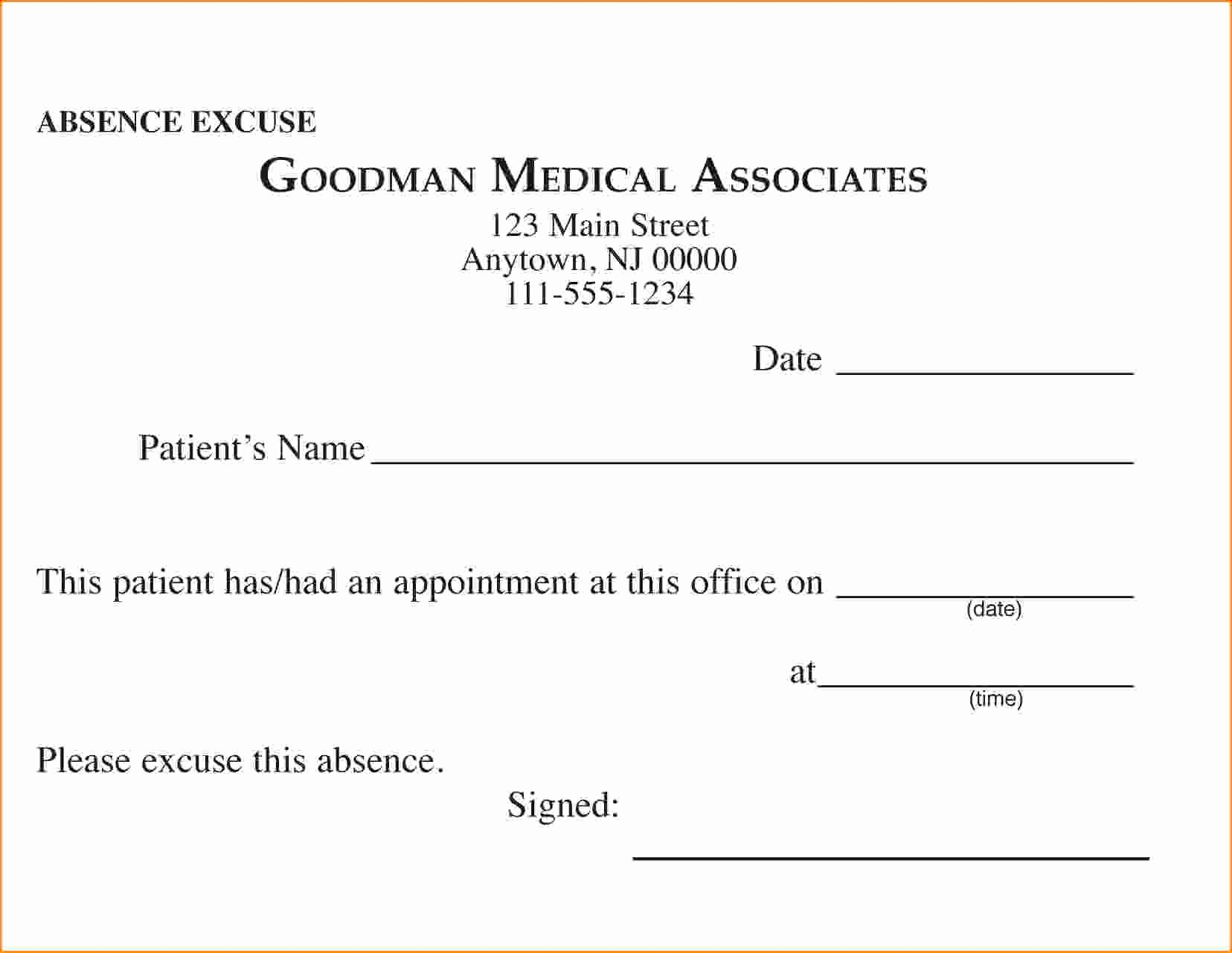 Doctor Note for School Absence Unique Free Printable Doctors Excuse for Work
