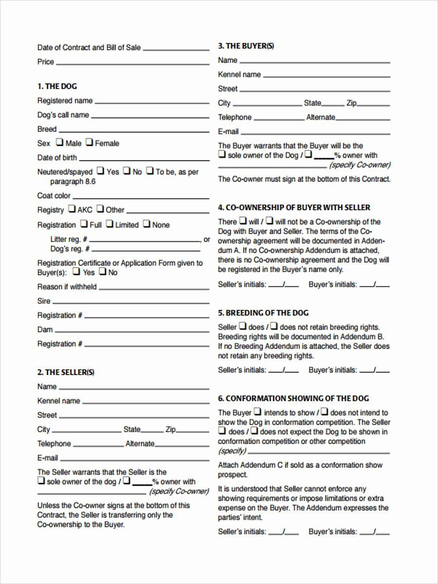 Dog Bill Of Sale Awesome Free 29 Sample Bill Of Sale forms