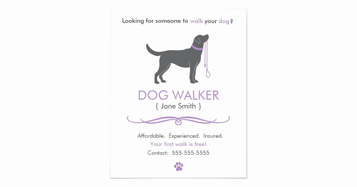 Dog Walking Flyer Template Awesome Dog Walker Walking Business Flyer Template Small
