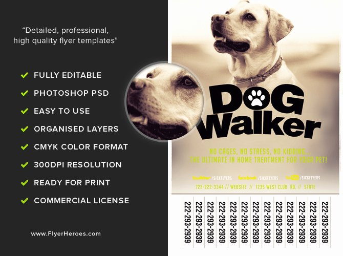 Dog Walking Flyer Template Awesome Professional Dog Walker Flyer Template Flyerheroes