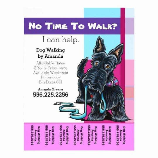 Dog Walking Flyer Template New Dog Walker Scottie Plaid Personalized Tear Sheet