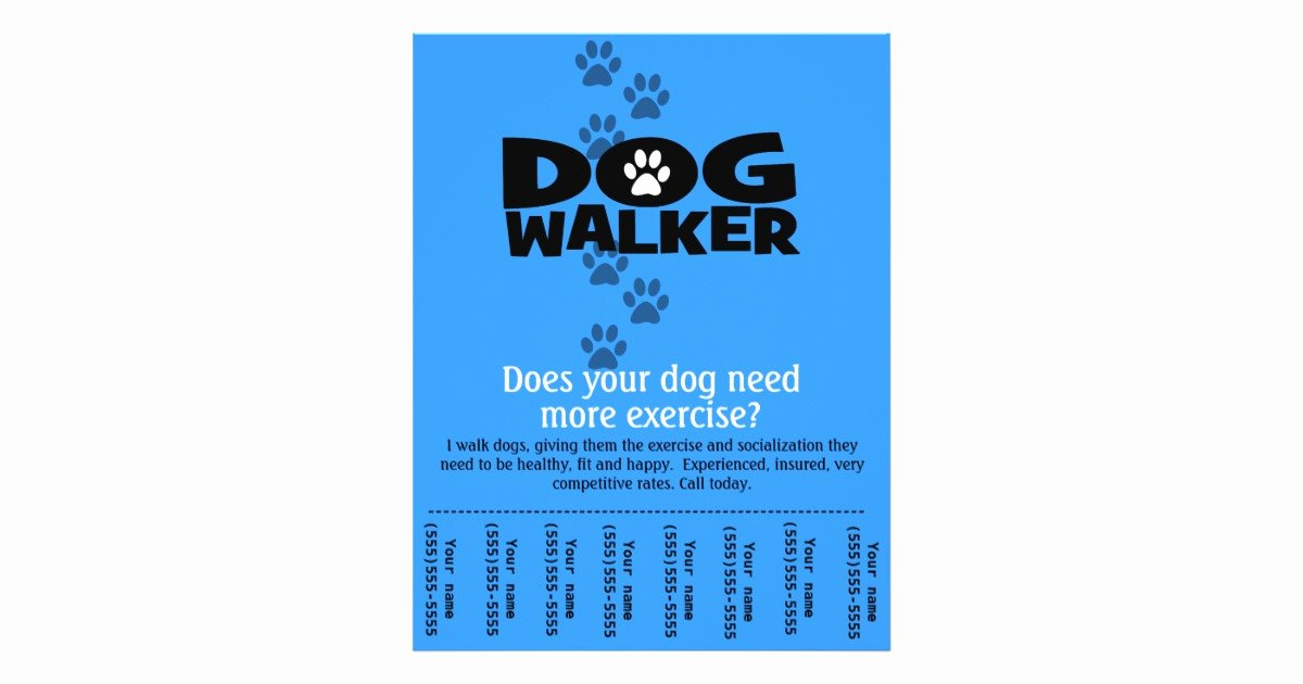Dog Walking Flyer Templates Free Awesome Dog Walker Promotional Tear Sheet Flyer Template B