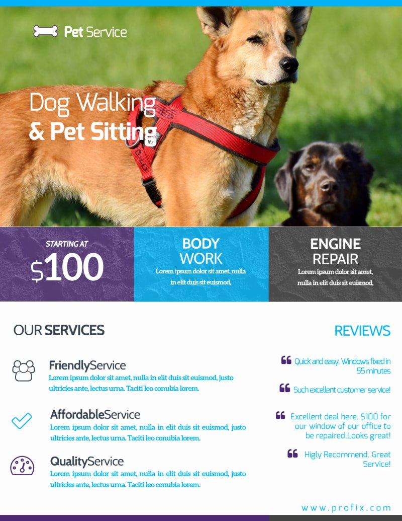 Dog Walking Flyer Templates Free Beautiful Dog Walking & Pet Sitting Flyer Template