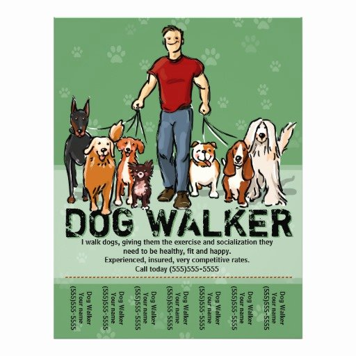 Dog Walking Flyer Templates Free Best Of Dog Walker Dog Walking Guy Grn Promotemplate Flyer