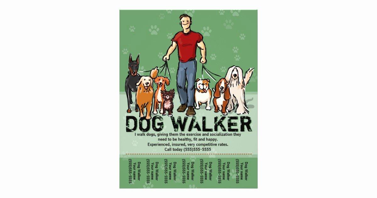 Dog Walking Flyer Templates Free Fresh Dog Walker Dog Walking Guy Grn Promotemplate Flyer