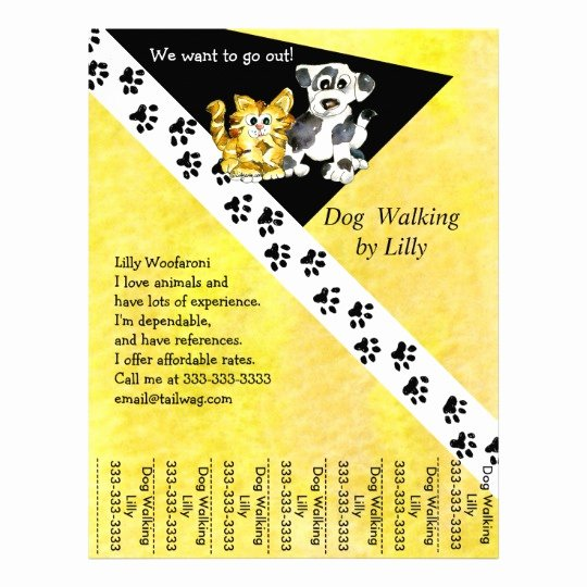 Dog Walking Flyer Templates Free Inspirational Dog Walker Pet Walking Tear Sheet Custom Flyer