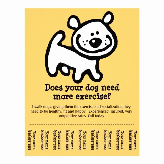 Dog Walking Flyer Templates Free Lovely Cute Dog Walking Promotion Tear Sheet Flyer Y Flyer