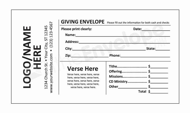 Donation Envelope Template Word Luxury Offering Envelope Printing Customized Offering Envelope