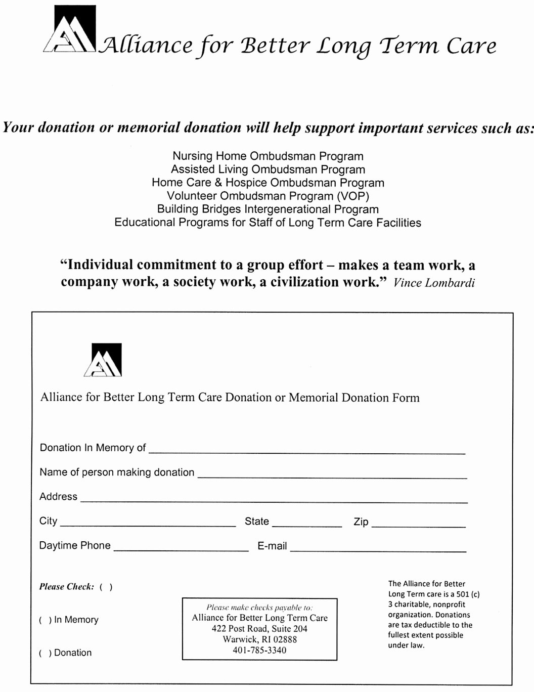 Donation for Funeral Wording Sample Elegant Alliance for Better Long Term Care Donation In Memory