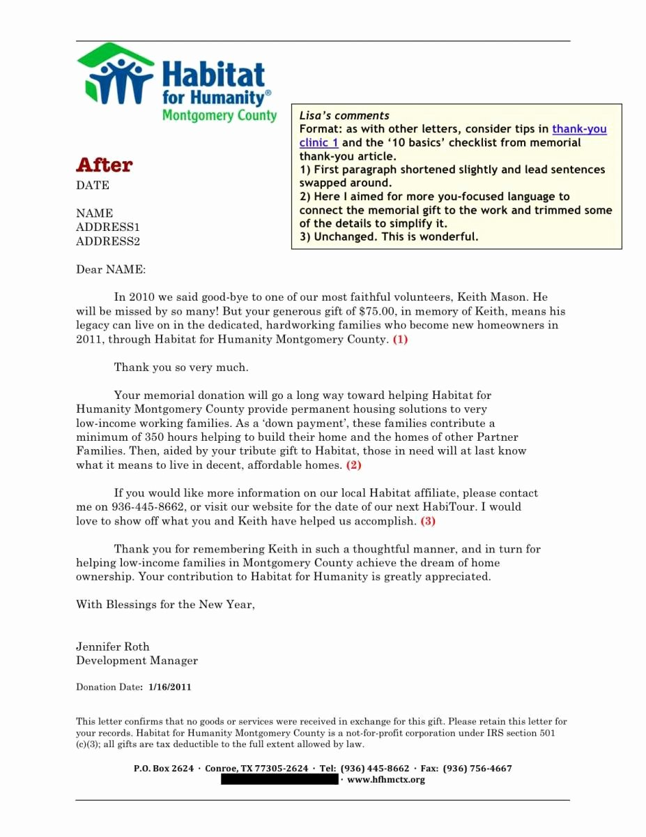 Donation for Funeral Wording Sample Fresh sofii · In Memoriam Donation Thank You Letter Samples