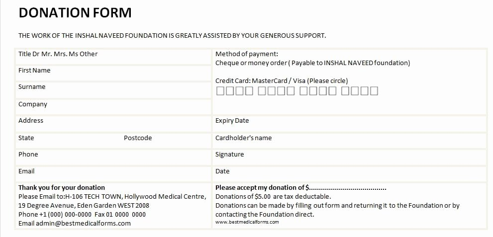 Donation form Template Word Best Of 6 Free Donation form Templates Excel Pdf formats