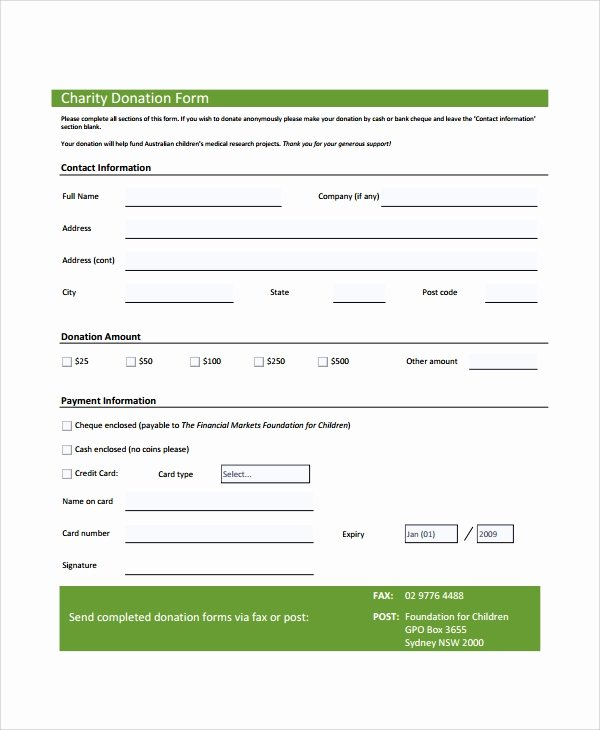 Donation form Template Word Fresh Sample Donation form 6 Documents In Pdf Word