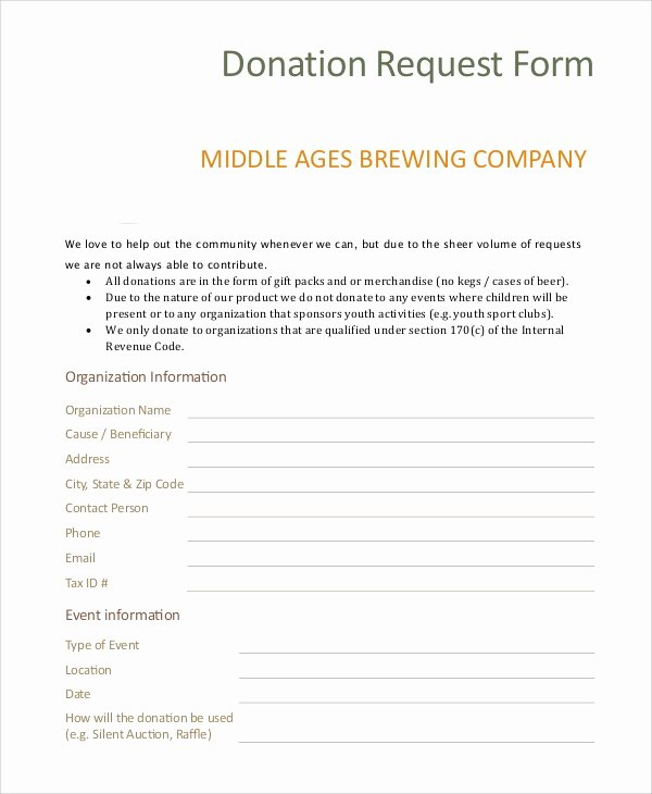 Donation form Template Word Inspirational 10 Sample Donation Request forms Pdf Word