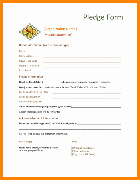 Donation form Template Word Luxury 7 Printable Donation form Template