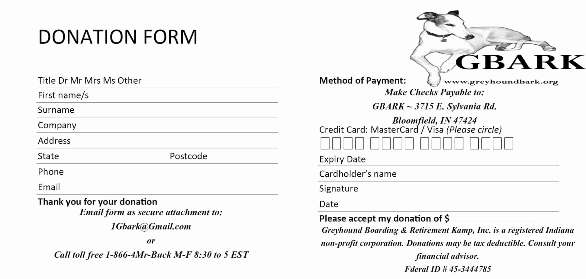 Donation form Template Word New 6 Donation form Templates Excel Pdf formats