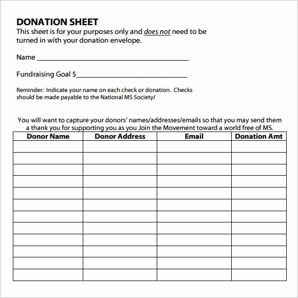 Donation form Template Word Unique Free 10 Sample Donation Sheets In Google Docs
