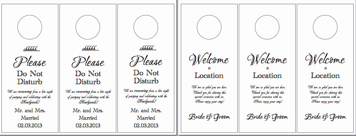 Door Hanger Template for Word Inspirational Hotel Door Hangers