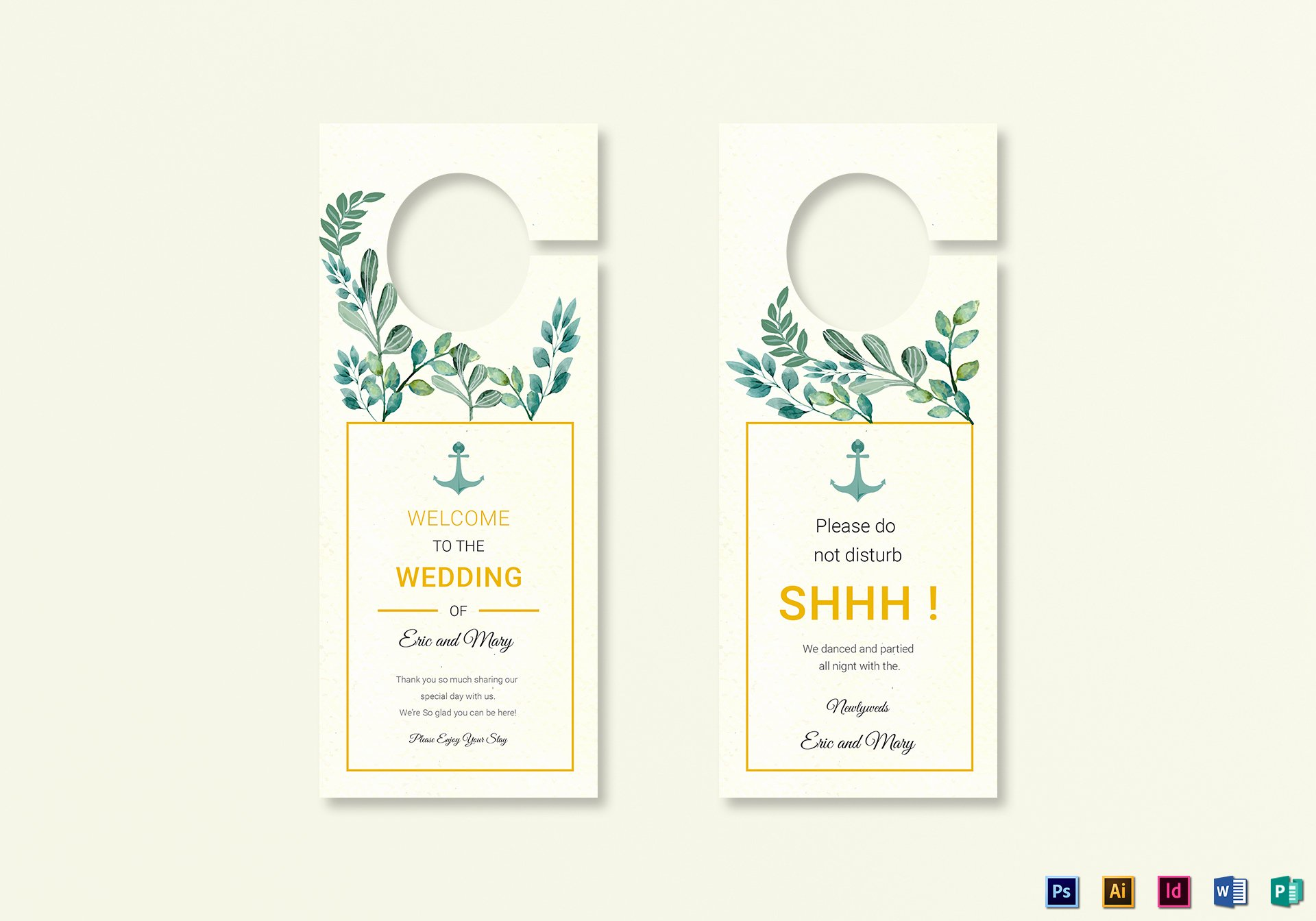 Door Hanger Template Publisher Inspirational Nautical Wedding Door Hanger Template In Psd Word Publisher Illustrator Indesign