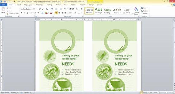 free door hanger template for business word 2013