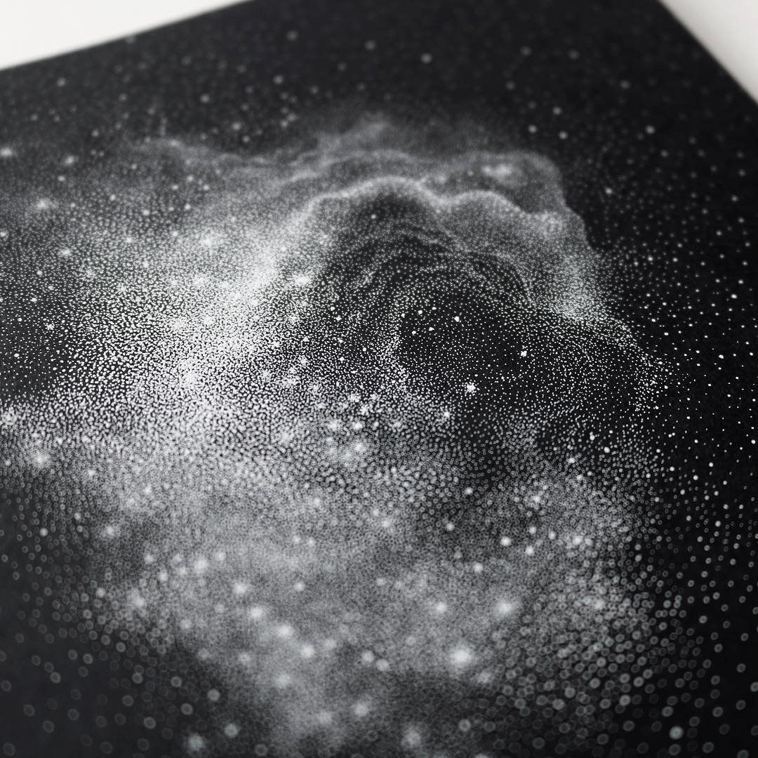 Draw Black and White Elegant Stippled Black and White Illustrations Of Star Packed Galaxies by Petra Kostova