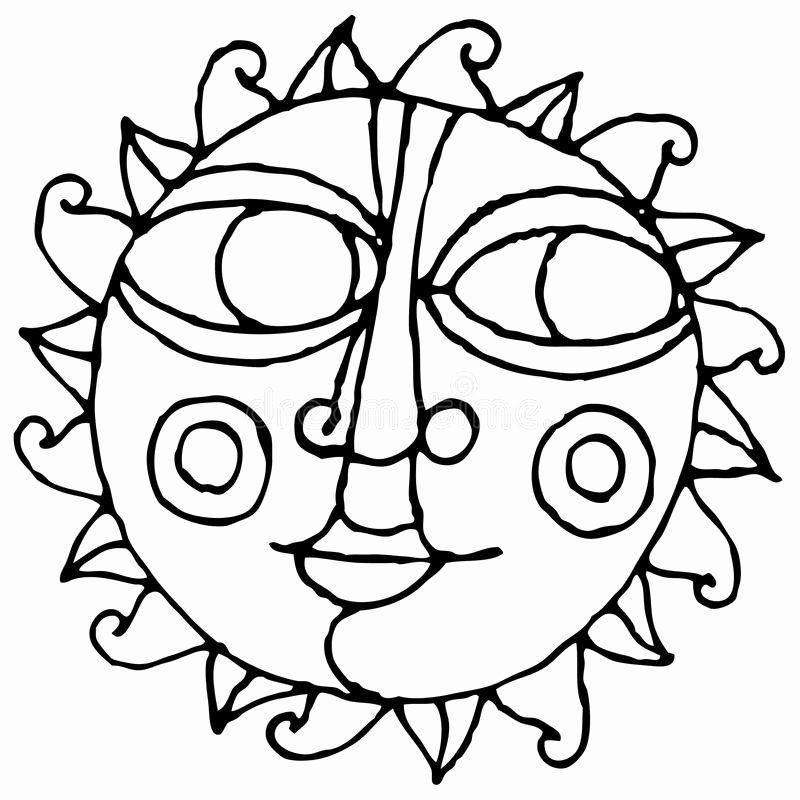 Draw Black and White Fresh Big Eye Sun Simple Hand Drawing Black and White Stock Vector Illustration