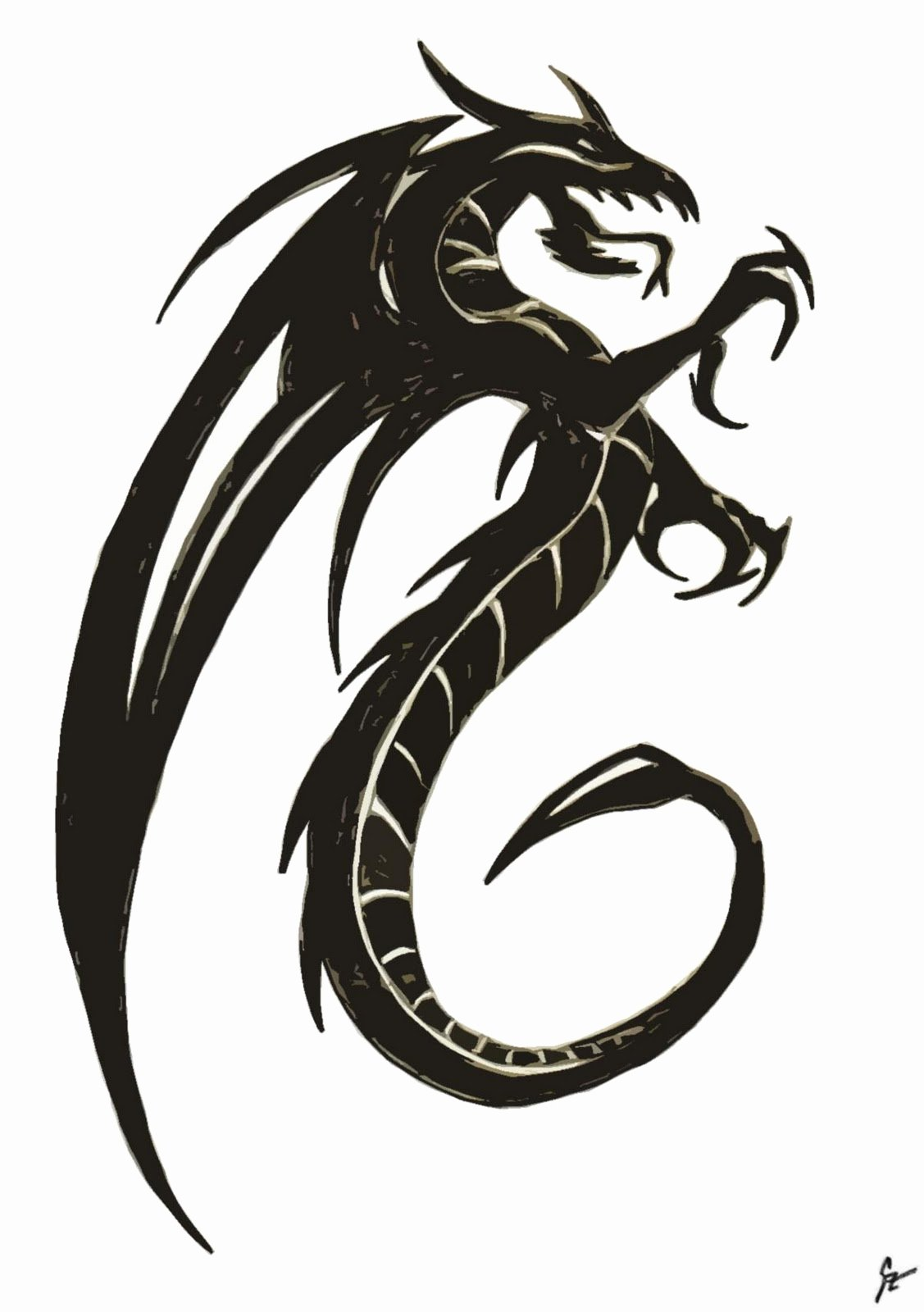 Draw Black and White Lovely Free Dragon Drawings Download Free Clip Art Free Clip Art On Clipart Library