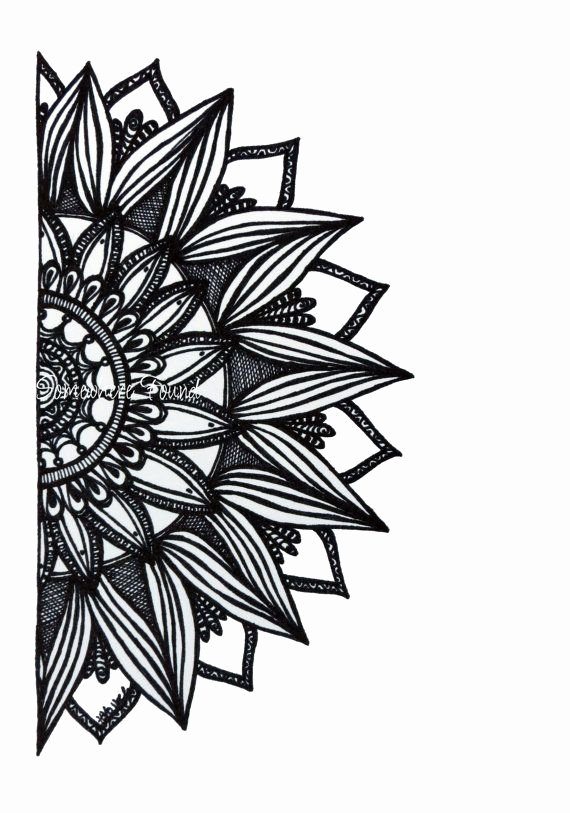 Draw Black and White Luxury Sunburst original Ink Drawing Black and White Sketch Arti