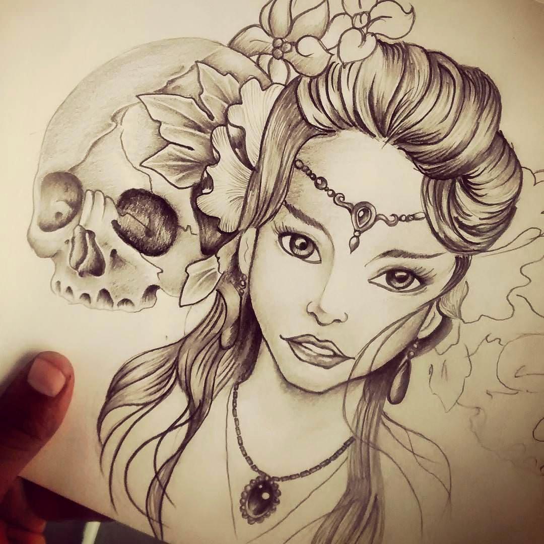 Drawing Of Beautiful Girls Beautiful 19 Skull Drawings Art Ideas