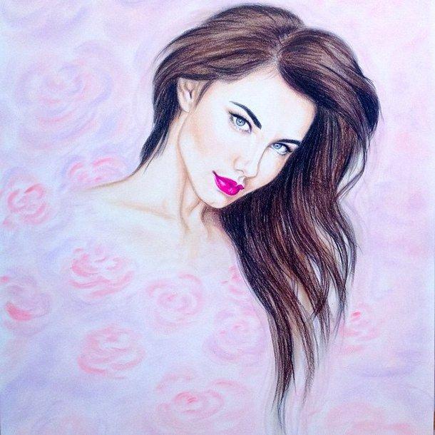 Drawing Of Beautiful Girls Elegant Amazing Art Beautiful Beauty Colorful Colors Colour Draw Drawing Drew Face Girl