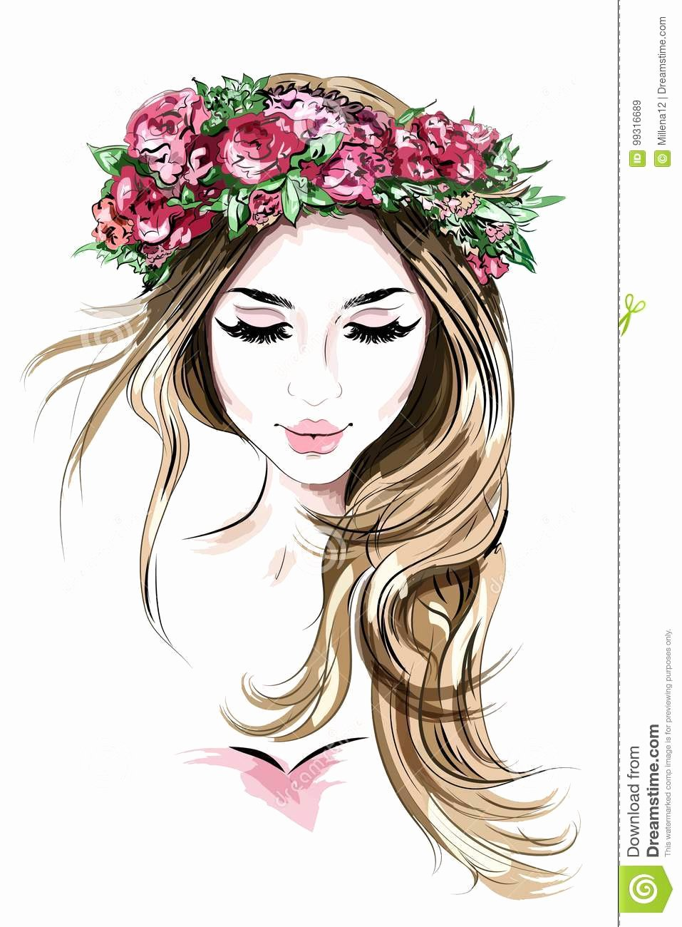 Drawing Of Beautiful Girls Fresh Hair Cartoons Illustrations & Vector Stock to From