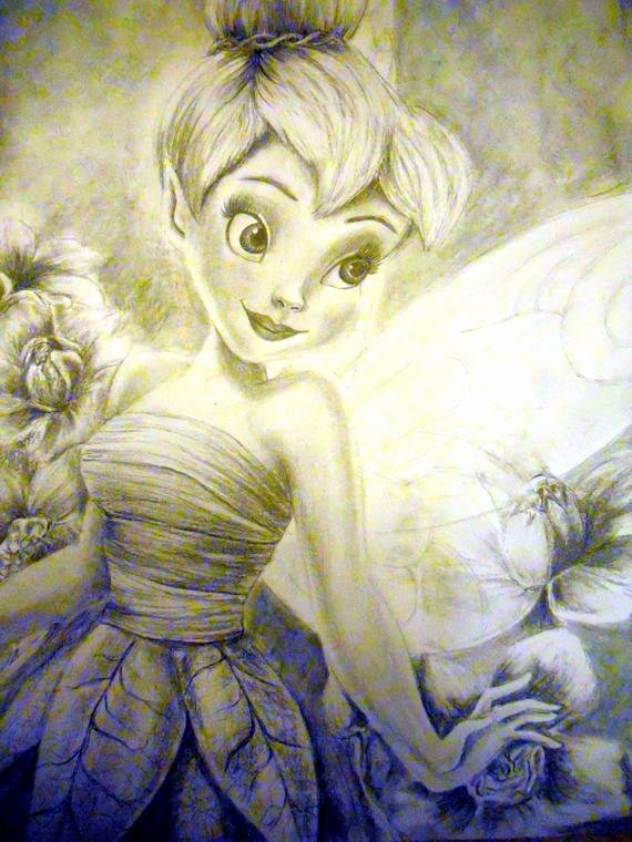 Drawings Of A Flower Unique Drawing Of Tinkerbell with Flowers In Pencil and Charcoal