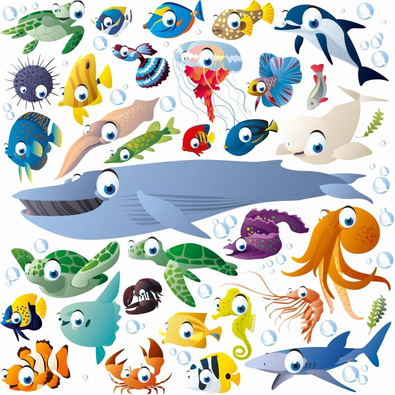Drawings Of Sea Creatures Fresh Funny Cartoon Sea Creatures and Fish Vector Stuff Pinterest