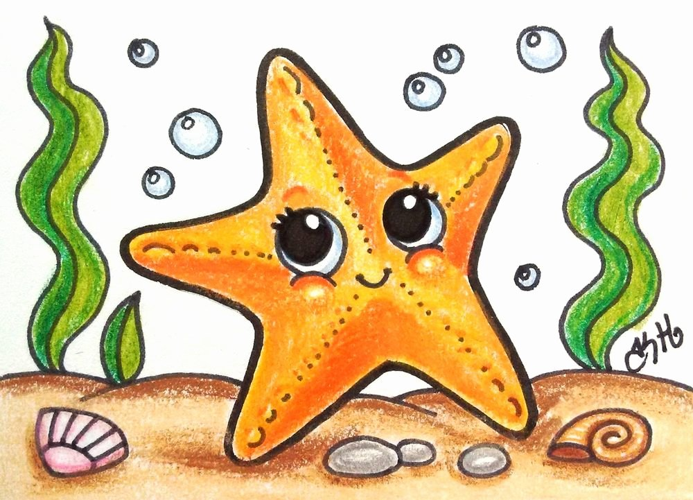 Drawings Of Sea Creatures Fresh Star Fish original Aceo Tw Jun Cartoon Drawing Water Sea Creatures Kate Holloman Aceo